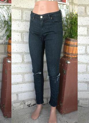 Шара акция -50% на все  джинсы скини узкие темно зеленого цвета средняя посадка рваные
