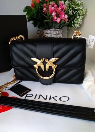 Кожаная сумка pinko , кожаная сумка на цепочке через плечо кроссбоди pinko