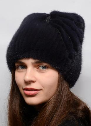 Женская зимняя норковая вязаная шапка