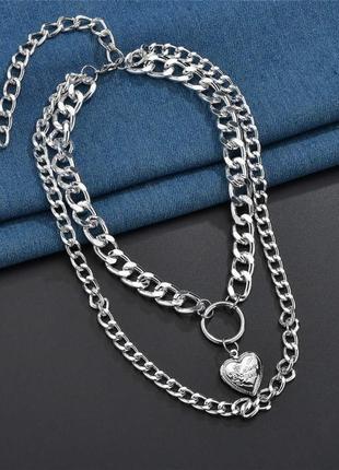 Крупные массивные цепи колье ожерелье чокер две цепочки с кулоном сердце  золото серебро