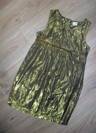 Золотистое нарядное платье на 12лет и дольше