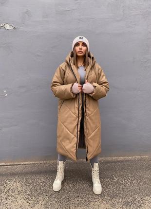 Пальто экокожа