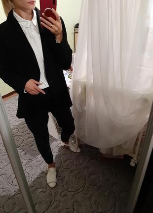 Удлинённый шерстяной пиджак,жакет прямого кроя