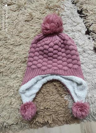 Теплая зимняя шапка на меху шапочка с булубонами на 3-5 лет