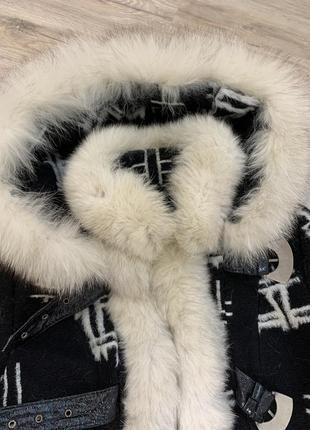 Пальто тёплое шерстяное зимнее с мехом и капюшоном favoritti