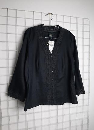 Льняная черная блуза рубашка