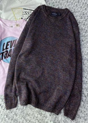 Меланжевый хлопковый свитер topman