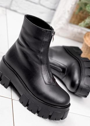 Новые женские кожаные зимние чёрные ботинки на тракторной  подошве