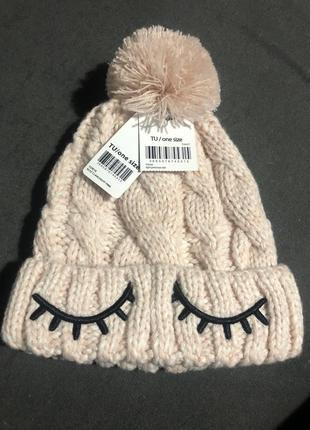 Нежно-розовая шапка на девочку 48-50 см акрил