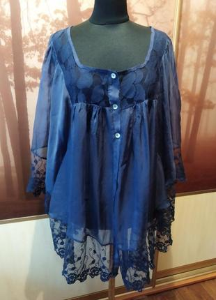 Блуза-разлетайка из 100% шелка и изумительного кружева от caria giannin