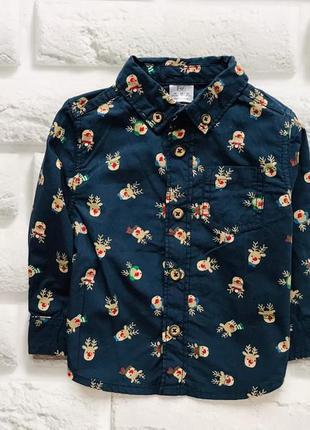 F&f  стильная новогодняя рубашка на мальчика 6-9 мес