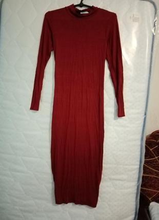 Платье миди по фигуре, бардовое