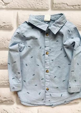 H&m  стильная рубашка на мальчика 9-12 мес