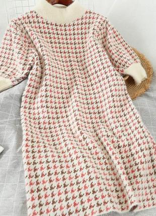 Платье ангора розовое