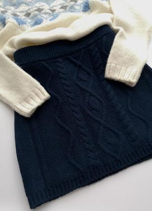 Теплая вязанная короткая синяя юбка sutherland