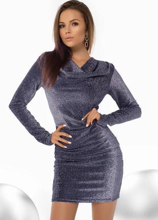Короткое синее блестящее платье-мини по фигуре (4090 msmd)