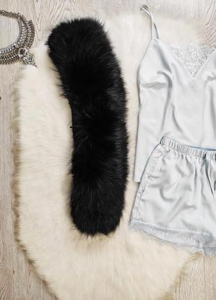 Черный натуральный с пуховика мех меховый натуральный воротник кролик широкий