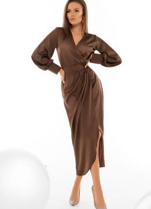 Женское коктейльное шелковое шоколадное платье-миди на запах (4091 msmd)