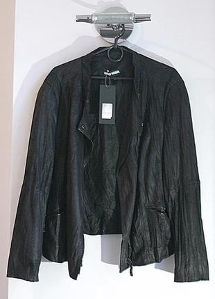 Куртка косуха жакет р. 54 черная ог 126 жатая замшевая жатая тканевая большая gerry weber