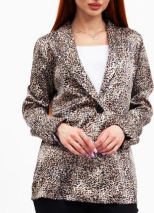 Жакет кардиган удлиненый с поясом леопард принт 👍🏻 - s