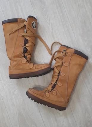 Теплющиии кожанные сапоги ботинки снегоходы оригинал