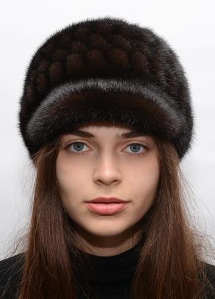 Женская зимняя норковая шапка
