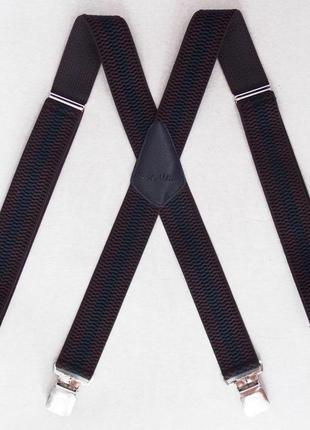 Широкие мужские подтяжки paolo udini черно-коричневые