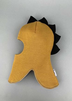 Шапка шлем зимняя тёплая дино