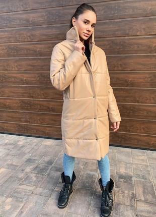 Кожаная куртка эко-кожа тёплая зима шкіряна куртка еко шкіра
