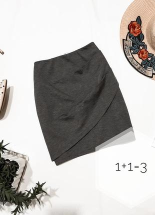Gina tricot теплая мини юбка xs-s на талию короткая серая базовая в обтяжку карандаш