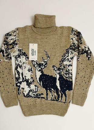 Теплый шерстяной вязаный свитер под горло для мальчика с оленями