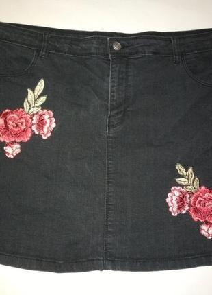 Джинсовая мини юбка р.22
