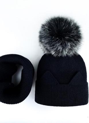 Комплект набор  чёрный шапка с помпоном на флисе + хомут