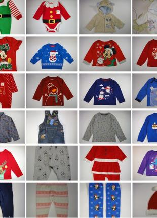 Одежда в новогодний принт на деток 0-3 года