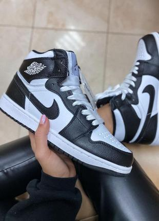 Nike air jordan black white fur ботинки черевики кроссовки кросівки