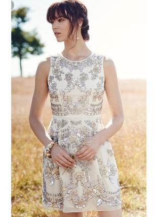 Изумительное вечернее нарядное вышитое платье ручной работы needle & thread