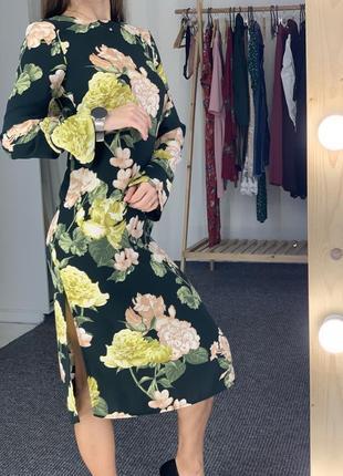 Красивое зеленое миди платье в цветочный принт h&m