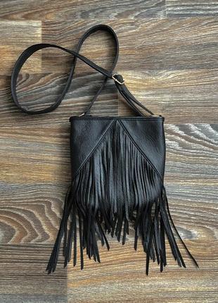 Черная эко кожаная сумка сумочка с длинной ручкой с бахромой от f&f