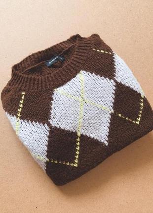 Коричневый свитер stradivarius