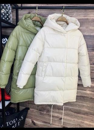 Пуховик куртка зима еко кожа