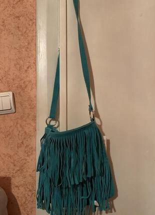 Бірюзова сумка бохо з бахромою