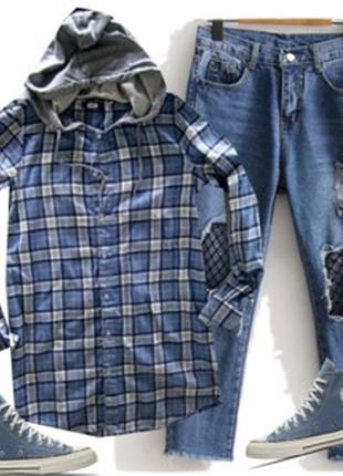 Длинная рубашка с капишоном размер 46-48 бренд bik bok