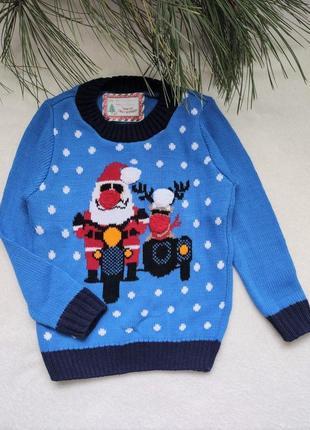 Детский новогодний свитер с дедом морозом (78), 2-3 года