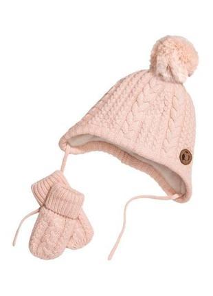 1-2 года, комплект шапка и варежки h&m.