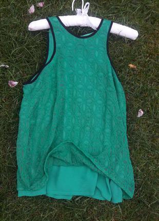 Майка блуза кружево шифон зеленая next