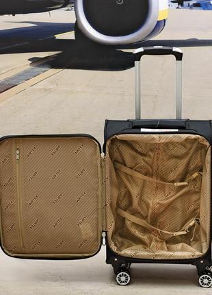 Ультра легкий тканевый чемодан 100% ручная кладь на 4-х кол. airtex 6522,оригинал7 фото