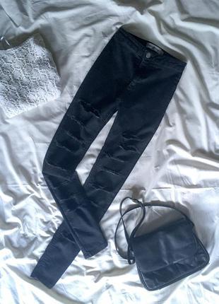 Рваные скини джинсы с высокой посадкой