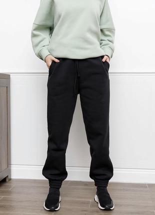 Черные утепленные флисом джоггеры, спортивные штаны