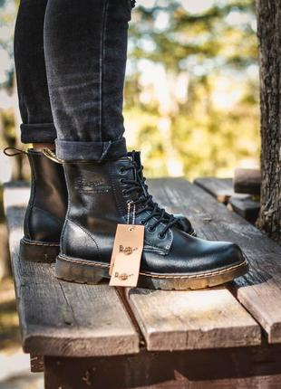 Ботинки dr. martens 1460 black мужские с мехом зимние