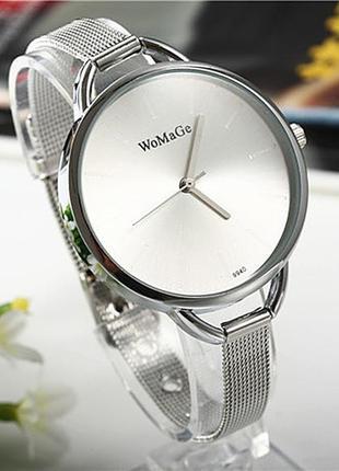 Глянцевые металлические часы silver
